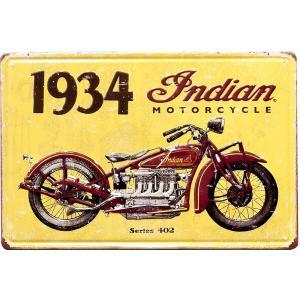 ブリキ看板 アンティーク ハーレー オールドバイク インディアン ガレージ アメリカ雑貨 / 1934|sakae-daikyo