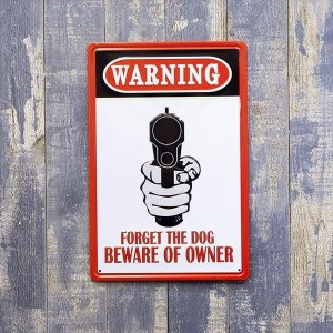 ブリキ看板 WARNING エンボス セキュリティー 防犯 警告 看板 ガレージ ビンテージ アメリカ雑貨|sakae-daikyo