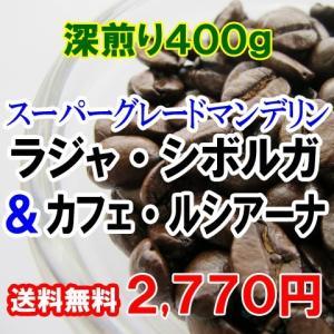 コーヒー豆 お試し 送料無料 コーヒー マンデリン・シボルガ&ブラジル・ルシアーナ プレミアム深煎り400gセット エスプレッソ ラテ