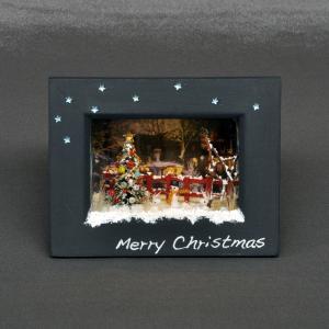 ハッピークリスマス 星が輝く額縁 <赤い柵> インフレーム :亀田信子 塗装済完成品 ノンスケール sakatsu