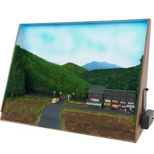 B4ジオラマ額 「踏切近くのお店」(LED照明付き) :スギモック 塗装済完成品 N(1/150) 1023|sakatsu