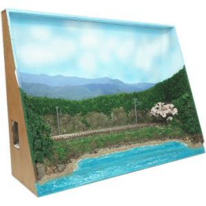 B4ジオラマ額 「桜咲く浜辺」 :スギモック 塗装済完成品 N(1/150) 1220 sakatsu
