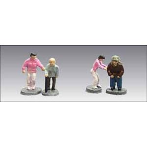 アイコム社製 塗装済み完成品 N(1/150)人の身長が約1cmサイズ  内容:お年寄りと介護士の人...