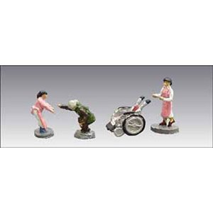 アイコム社製 塗装済み完成品 N(1/150)人の身長が約1cmサイズ  内容:車椅子とお年寄りの人...