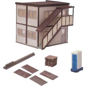 情景小物051 工事現場A 現場事務所と小物 :トミーテック 塗装済みキット N(1/150) 224310|sakatsu