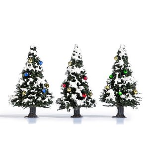 雪を被ったクリスマスツリー 4cm 3本 :ブッシュ 完成品 ノンスケール 6464|sakatsu