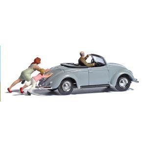 【模型】 VW ビートル 人形付き :ブッシュ 塗装済完成品 HO(1/87) 7823 sakatsu