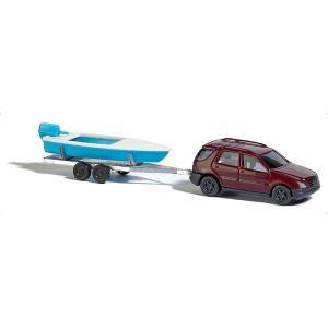 メルセデス ベンツ Mクラス(四輪駆動車) と モーターボートトレーラー :ブッシュ 完成品 N(1/160) 8334|sakatsu