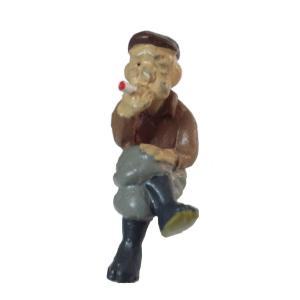 さかつう人形シリーズまなべコレクション 腰掛けてタバコを吸う男 :さかつう 塗装済完成品 HO(1/87) 7515|sakatsu