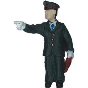 さかつう人形シリーズまなべコレクション 指差確認中の駅員 :さかつう 塗装済完成品 HO(1/87) 7516|sakatsu