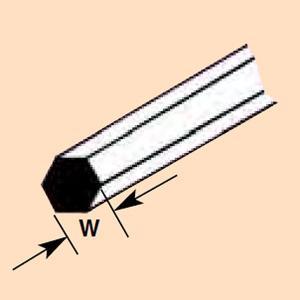 六角材・六角棒 0.5 x 250 mm :プラストラクト プラ材 ノンスケール 90871 sakatsu