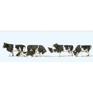 牛(白黒 ホルスタイン種) 6頭 :プライザー 塗装済完成品 HO(1/87) 10145|sakatsu