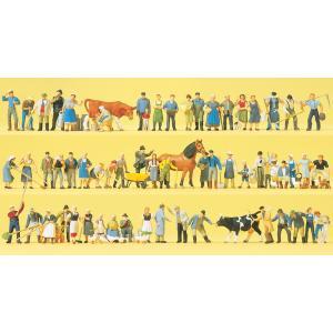 農場の人たち、動物 60体 :プライザー 塗装済完成品 HO(1/87) 13001|sakatsu