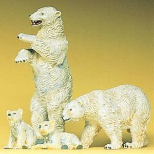 白熊(ホッキョクグマ) 4頭 :プライザー 塗装済完成品 HO(1/87) 20384|sakatsu