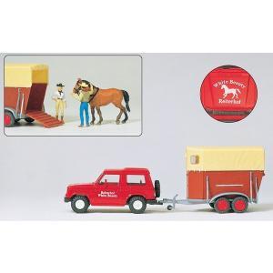 乗馬教室のパジェロとカーゴ 馬1頭 人2名 :プライザー 塗装済完成品 HO(1/87) 33243|sakatsu