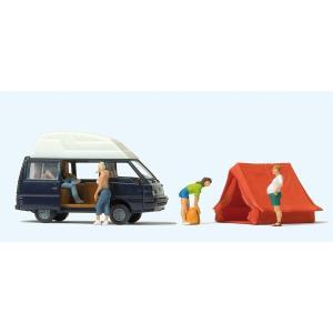 キャンプする人たち、ワゴン車(三菱デリカL300)、テントセット :プライザー 塗装済完成品 HO(1/87) 33258|sakatsu