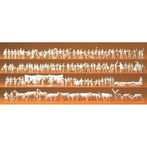 鉄道員、乗客、通行人、動物(馬、牛、鹿、羊など) 未塗装120体セット :プライザー 未塗装キット N(1/160) 79000|sakatsu