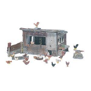にわとり小屋と鶏 :ウッドランド 未塗装キット HO(1/87) D215|sakatsu