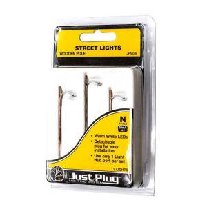 LED付き街路灯 木製支柱タイプ Nサイズ 3本セット JP5638 :ウッドランド 塗装済み完成品 N(1/160) Just Plug対応サイズ|sakatsu