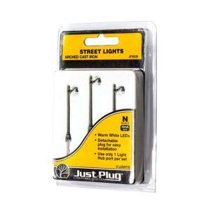 LED付き街路灯 鉄製支柱タイプ Nサイズ 3本セット JP5639 :ウッドランド 塗装済み完成品 N(1/160) Just Plug対応|sakatsu