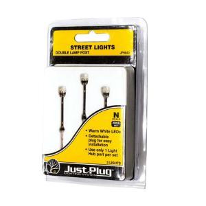 LED付き街路灯 鉄製支柱ダブルランプ Nサイズ 3本セット JP5640 :ウッドランド 塗装済み完成品 N(1/160) Just Plug対応|sakatsu