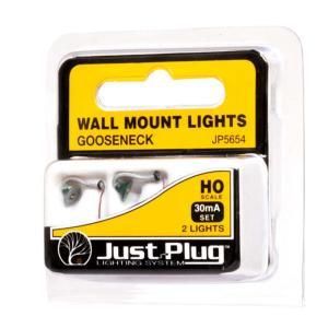 LED付き街路灯 壁用外灯 笠タイプ HOサイズ 2個セット JP5654 :ウッドランド 塗装済み完成品 HO(1/87) Just Plug対応|sakatsu
