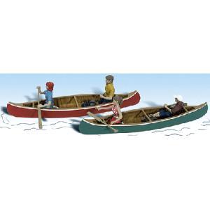 カヌーを漕ぐ 2隻 :ウッドランド 塗装済完成品 HO(1/87) 1918 sakatsu