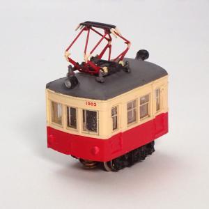 電池内蔵自走式 ミニミニトレイン <長デン・赤モハ> :石川宜明 塗装済完成品 N(1/150)|sakatsu