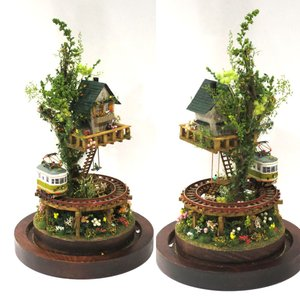 ツリーハウスライン#10 「辛子色の電車と緑のツリーハウス」 :石川宜明 塗装済完成品 1/150サイズ sakatsu 02