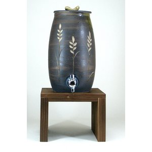 信楽焼・明山窯 尺徳利 焼酎サーバー 麦の穂 黒釉彫 3000cc (s10-15)|sake-gets