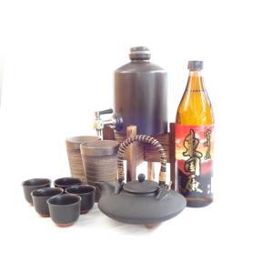 豪華酒器セットA7(焼酎サーバー、黒千代香、備前金彩ペアカップ、芋焼酎東国原(ひがしこくばる)900ml)|sake-gets