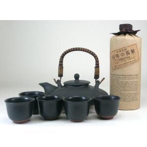 黒千代香セット5客ツル付 (黒木本店 長期麦焼酎 百年の孤独 40度 720ml)|sake-gets