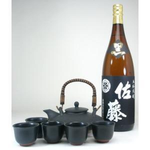 黒千代香セット5客ツル付(本格芋焼酎 佐藤黒 1800ml)|sake-gets