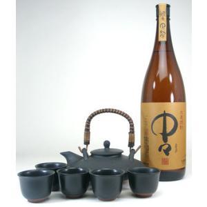 黒千代香セット5客ツル付(黒木本店 本格麦焼酎 中々 1800ml)|sake-gets