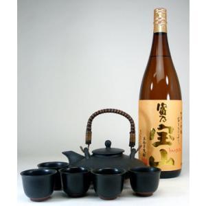黒千代香セット5客ツル付(本格芋焼酎 富乃宝山1800ml )|sake-gets