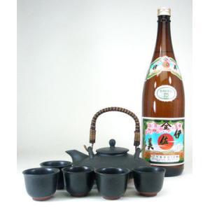 黒千代香セット5客ツル付(本格芋焼酎 伊佐美1800ml)|sake-gets