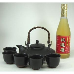 黒千代香セット5客ツル付(還暦限定 お屠蘇酒 500ml )焼酎ギフト|sake-gets