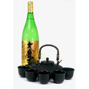 黒千代香セット5客ツル付(濱田酒造 黄麹仕込み芋焼酎 大魔王 1800ml)|sake-gets