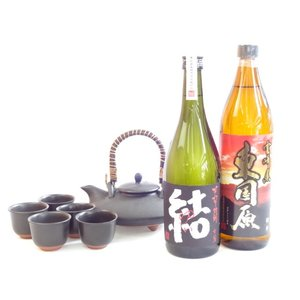 黒千代香セット5客ツル付(限定品 芋焼酎 結、東国原 720ml×2本セット)|sake-gets