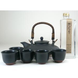 黒千代香セット5客ツル付 (かめ仕込み もち米焼酎 野うさぎの走り600ml)|sake-gets