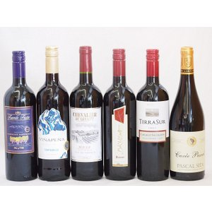 ワインセット セレクション 赤ワイン 6本セット ( チリワイン 2本 フランスワイン 2本 イタリアワイン 1本 スペインワイバレンタイン|sake-gets