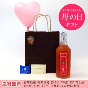 バレンタイン リキュールセット(神楽酒造 野いちご酵母 野イチゴの恋 25°720ml (宮崎県))メッセージカード ハート風船 ミニバレンタイン|sake-gets