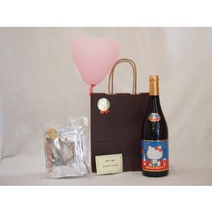 お誕生日 ワインセット ハローキティ (ハローキティ ボジョレー 赤ワイン750ml+挽き立てドリップ珈琲5セット)ハート風船|sake-gets
