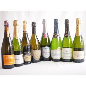 ワインセット ドンペリ飲み比べ8本セット(ドンペリニヨン ギフト箱付 白 正規輸入品750ml+世界の厳選スパークリングワイン(|sake-gets