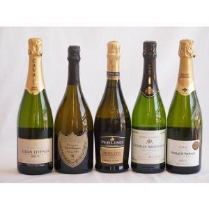 ワインセット ドンペリ飲み比べ5本セット(ドンペリニヨン ギフト箱付 白 正規輸入品750ml+世界の厳選スパークリングワイン( sake-gets