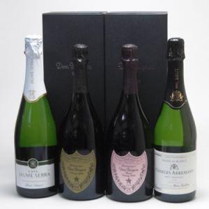 ワインセット ドンペリ飲み比べ4本セット(ドン ペリニヨン ロゼ、ドンペリニヨン白、+世界の厳選スパークリングワイン(辛口2本)|sake-gets