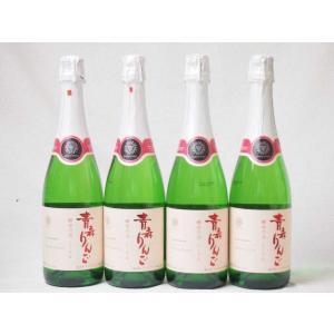 4本セット 日本のシードル 青森りんご 酵母の泡 スパークリングワイン やや甘口 (山梨県)720m...