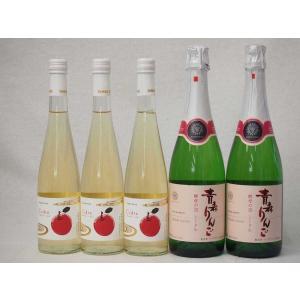 国産青りんごワイ5本セット Cider 青森弘前産りんご使用500ml×3本(京都府) 青森りんご 酵母の泡 スパークリングワイン720ml×2本(山|sake-gets