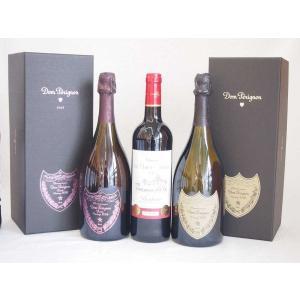 ドンペリニヨンロゼのドンペリ ドンペリ白 ダブル金賞受賞 赤ワイン フランス ボルドー産 ソムリエ厳選 計3本|sake-gets