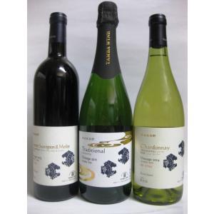 【プレゼントギフト】京都丹波ワイン カベルネソーヴィニヨンメルロー(赤)2017、シャルドネ(白)2017、トラディショナル(泡)2013 各750ml瓶 3本セット|sake-nishida